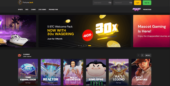 fortunejack casino website screen new