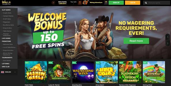 winz casino website screen 2021