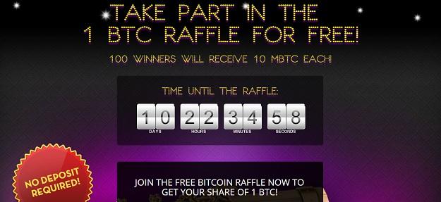 bitcasino 1 bitcoin free raffle