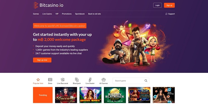 bitcasino.io new website screen