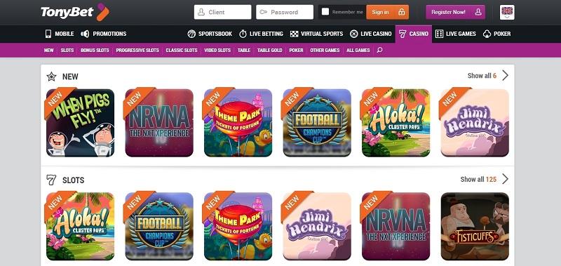 Tonybet casino website review