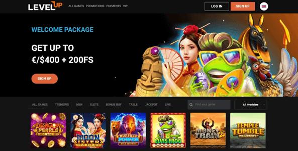 levelup casino website screen